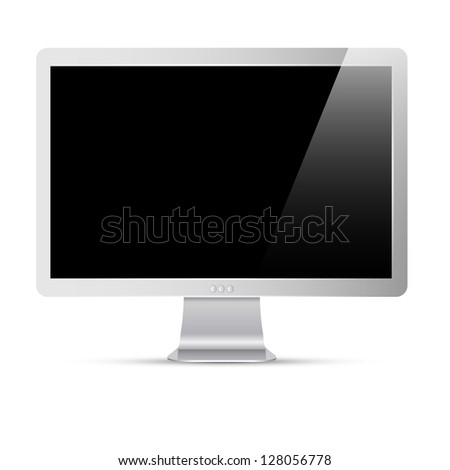 Vector computer monitor with black screen - stock vector
