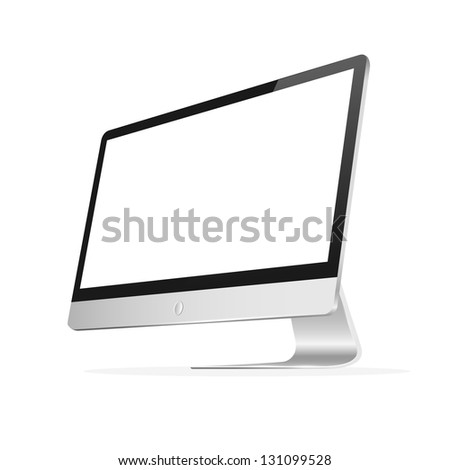 Vector computer monitor with blank screen. Isolated on white