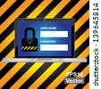 Vector : Computer Security Concept Present By Computer Laptop or Computer Notebook With Login Form and The Key Lock Icon on Screen in Caution Zone Dark and Yellow Background - stock vector