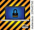 Vector : Computer Security Concept Present By Computer Laptop or Computer Notebook With The Key Lock on Screen in Caution Zone Dark and Yellow Background - stock photo