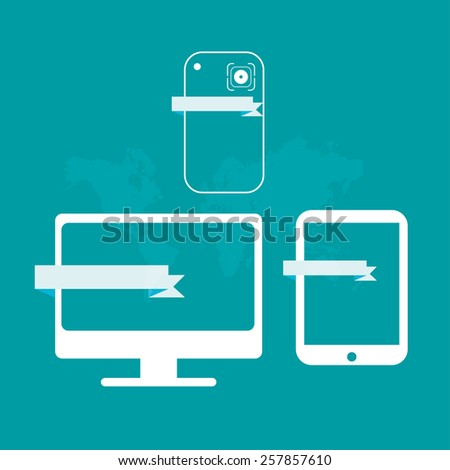 vector Computer, Smartphone and Tablet flat icon design camera photographic. Objective icon  - stock vector