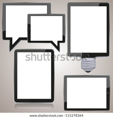Vector computer tablet set on brown background. eps10 - stock vector