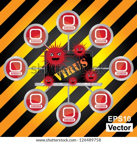 Vector : Computer Virus and Network Security Concept Present By Computer Laptop With Red Virus and Yellow Virus Text on Screen Connected to The Network in Caution Zone Dark and Yellow Background - stock vector