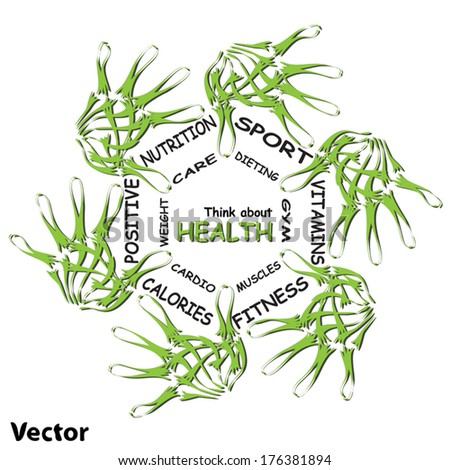 Vector concept abstract circle health word cloud of green leaf child on white background, metaphor to health, nutrition, diet, wellness, body, fitness, medical, gym, medicine, sport, heart or science - stock vector