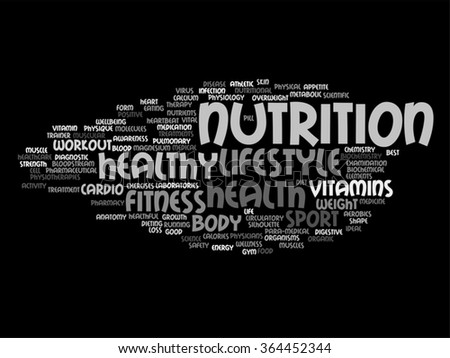 Vector concept abstract health diet or sport word cloud or wordcloud on background  for health, nutrition, diet, wellness, body, energy, medical, fitness, medical, gym, medicine, sport, heart science - stock vector