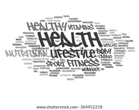 Vector concept abstract health diet or sport word cloud wordcloud on background  for health, nutrition, diet, wellness, body, energy, medical, fitness, medical, gym, medicine, sport, heart or science - stock vector