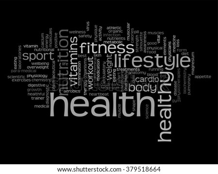 Vector concept abstract health diet sport word cloud or wordcloud isolated on background for health, nutrition, diet, wellness, body, energy, medical, fitness, medical gym medicine sport heart science - stock vector