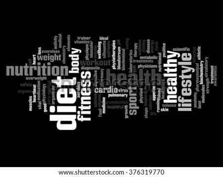 Vector concept abstract health diet sport word cloud wordcloud isolated on background for health, nutrition, diet, wellness, body, energy, medical, fitness, medical, gym, medicine, sport heart science - stock vector
