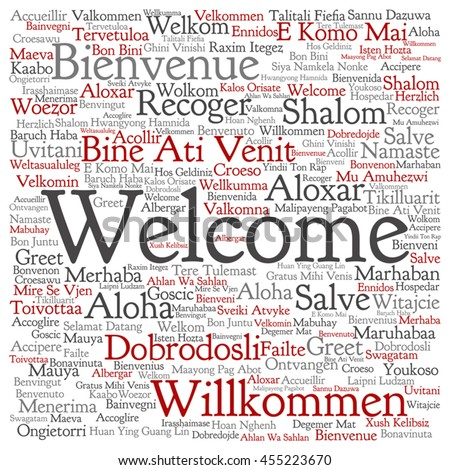 Vector concept abstract square welcome greeting stock vector vector concept abstract square welcome or greeting international word cloud in different languages or multilingual isolated m4hsunfo