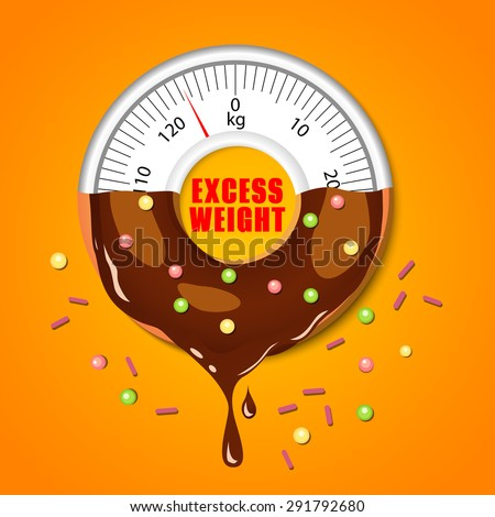 Vector concept background. Donut and scales. Fast food. Vector backdrop. Health care.  - stock vector