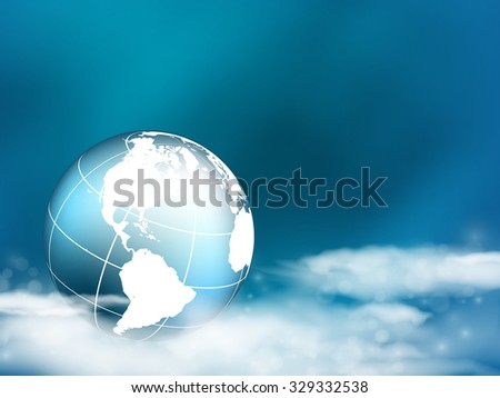 vector concept  background with globe in the clouds. Eps10 - stock vector