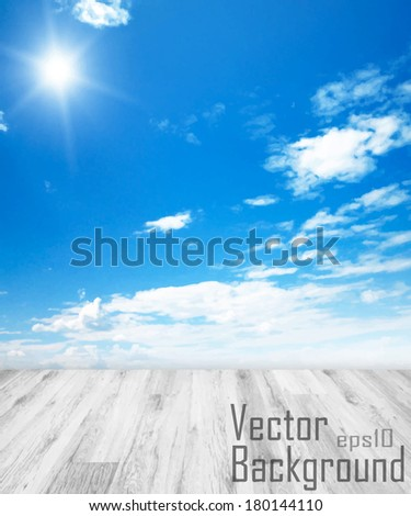 Vector - Concept Background with white floor and blue sky with sun - stock vector