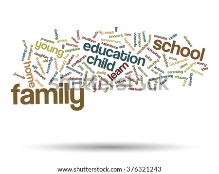 Vector concept child education family abstract word cloud isolated on background metaphor to child, family, school, life, learn, knowledge, home, study, teach, educational, achievement, childhood teen