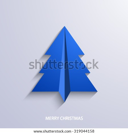 vector concept christmas tree and origami airplane. New year background - stock vector