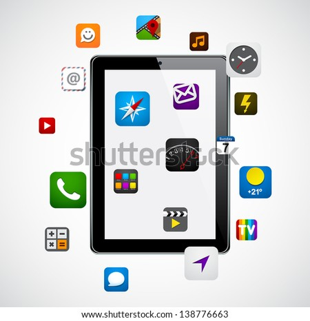 Vector concept communicator with app icons. Eps10.