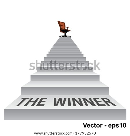 Vector concept conceptual 3d stair climbing to a leader, chief or promotion chair on top isolated white background, metaphor to career, business, success, achievement, winner, goal, step or victory - stock vector
