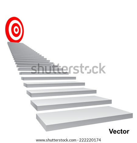 Vector concept conceptual 3d stair climbing to leader, chief, promotion on top red target isolated on white background, for career, business, success, achievement, winner, goal, step, rise or victory - stock vector