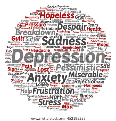 Vector concept conceptual depression, mental emotional disorder abstract round word cloud isolated on background for anxiety, sadness, negative, sad, problem, despair, unhappy, frustration symptom - stock vector