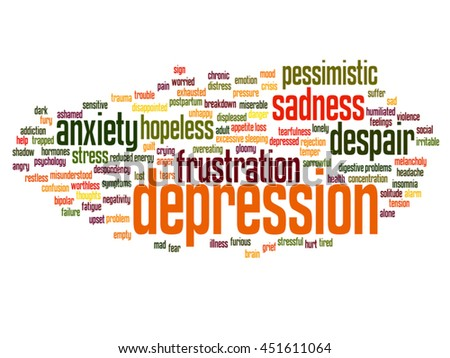 Vector concept conceptual depression or mental emotional disorder abstract word cloud isolated on background metaphor to anxiety, sadness, negative, sad, problem, despair, unhappy, frustration symptom - stock vector