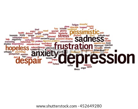 Vector concept conceptual depression or mental emotional disorder square word cloud isolated on background metaphor to anxiety, sadness, negative, sad, problem, despair, unhappy, frustration symptom - stock vector