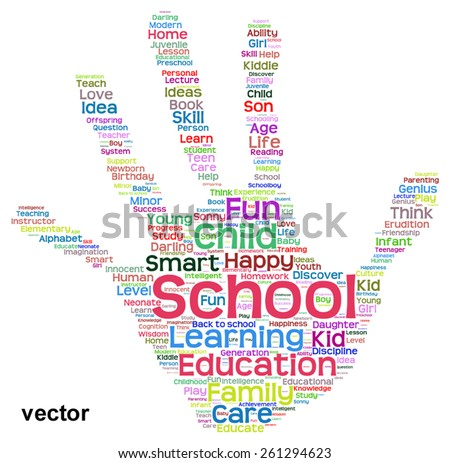 Vector concept conceptual education abstract hand print word cloud, metaphor to child, family, school, life, learn, knowledge, home, study, teach, educational, achievement, childhood, teen handprint