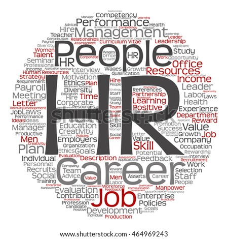 Vector concept conceptual hr or human resources management abstract round word cloud isolated on background metaphor to workplace, development, career, success, hiring, competence, goal, corporate job