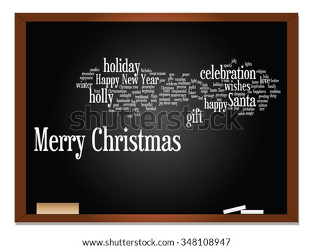 Vector concept conceptual Merry Christmas holiday or Happy New Year winter abstract text word cloud on blackboard background, metaphor to celebration, Santa, festive, december, love, family, home joy