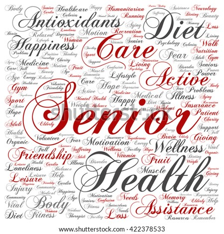 Vector concept conceptual old senior health, care or elderly people square word cloud isolated on background, metaphor to healthcare, illness, medicine, assistance, help, treatment, active or happy