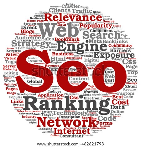 Vector concept conceptual search engine optimization, seo abstract round word cloud isolated on background metaphor to marketing, web, internet, strategy, online, rank, result,  network, top relevance