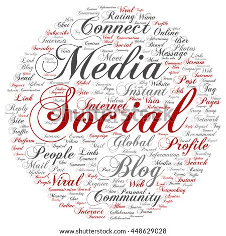 Vector concept conceptual social media marketing communication round abstract word cloud isolated on background, metaphor to networking, community, technology, advertising, global, worldwide tagcloud - stock vector