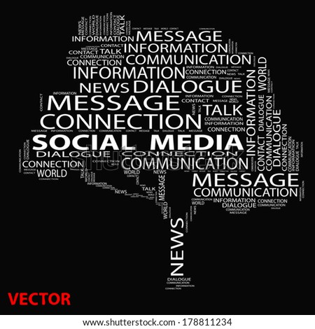 Vector concept conceptual white tree word cloud on black background, metaphor for communication, speech, message, mail, relation, dialog, talk, report, contact, stair, climb, email, internet wordcloud - stock vector