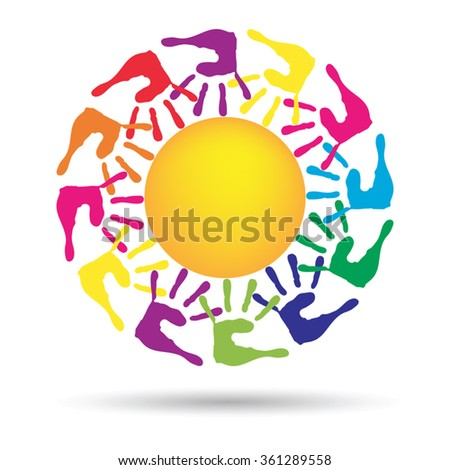Vector concept conceptual yellow happy abstract sun with children hand print spiral or circle isolated on white background, metaphor to childhood, education, summer, spring, play or friendship