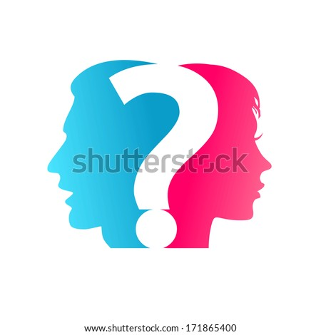 Vector concept. Couple and question mark - stock vector