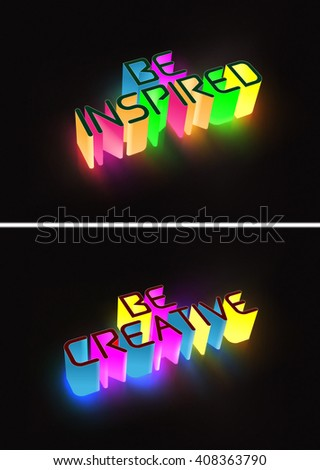 Vector Concept 3d Glowing Text With Affirmation Messages, Eps10 Vector, Gradient Mesh and Transparency Used - stock vector