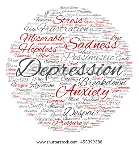 Vector concept depression or mental emotional disorder abstract round word cloud isolated on background metaphor to anxiety, sadness, negative, sad, problem, despair, unhappy, frustration symptom - stock vector