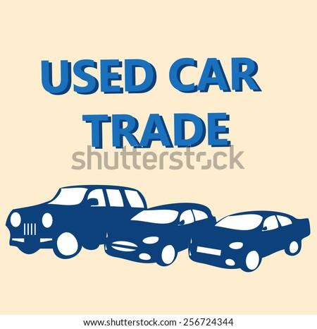 vector concept design banner automobile - used car trade - stock vector