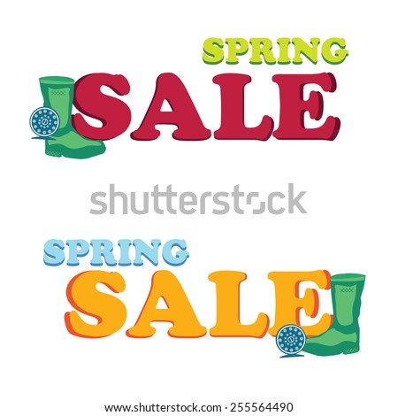 Vector concept design colorful banner spring sale on white background - stock vector