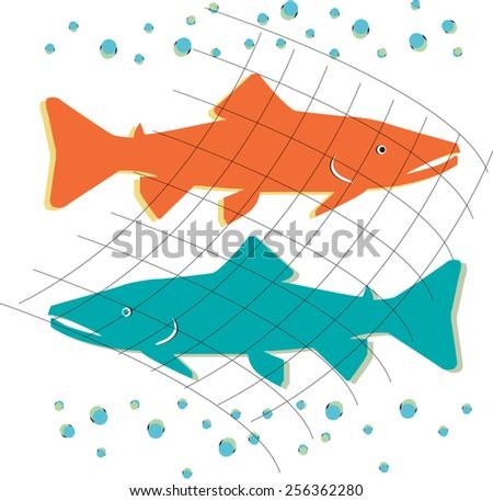 Vector concept design icon buisness fish service or trade marketing - stock vector