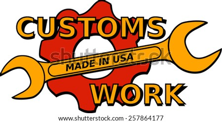 vector concept design logo custom mechanical with wrench and pinion