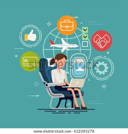 Vector concept design on woman working online using inflight WiFi. Flier traveler using onboard internet provided by airline. Lady using laptop in cabin seat while traveling by airplane illustration