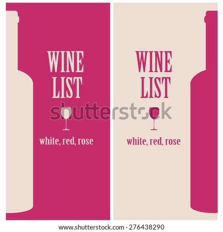 vector concept design wine list with text, glasses and bottle in red and beige colors - stock vector