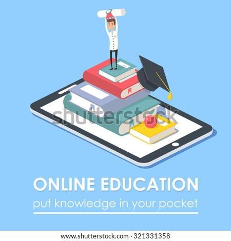 Vector concept for on-line education. Isometric design. On-line training courses, retraining, specialization, tutorials. Can be used for web design, banners, promotional materials etc. - stock vector