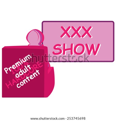 Vector concept for xxx adult content with penis sit on sofa and whatching frame in pink color - stock vector