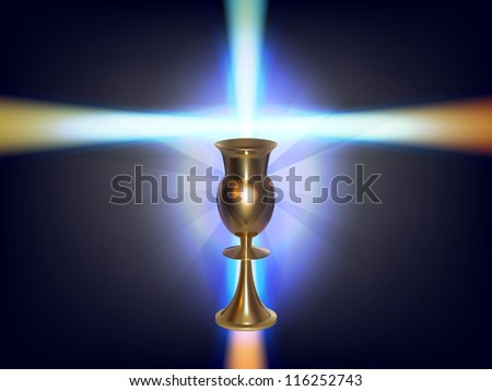 vector concept glowing cross with golden goblet, eps 10 file,gradient mesh and transparency used, raster version available