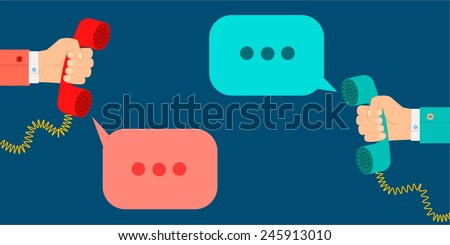 vector concept hand holding a telephone receiver speech clouds in flat design style - stock vector
