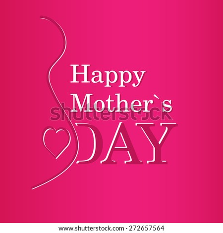 vector concept Happy Mother's Day text with pregnancy silhouette in purple and white colors - stock vector