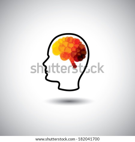 vector concept - human face & brain with gears & cogs. This graphic of human side face also represents intelligence, complex brain, human cyborg, puzzle head, human computer, innovative brain, etc - stock vector