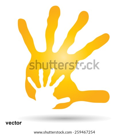 Vector concept  human or mother and child hand prints painted, isolated on white background  for art, care, childhood, family, fun, happy, infant, symbol, kid, little, love, mom, motherhood or young - stock vector