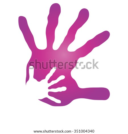 Vector concept human or mother and child hand prints painted, isolated on white background for art, care, childhood, family, fun, happy, infant, symbol, kid, little, love, mom, motherhood young design - stock vector