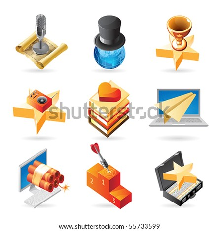 Vector concept icons for media and entertainment. Illustrations for document, article or website. - stock vector